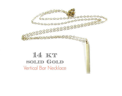 14KT Solid Gold Vertical Dangling Bar Necklace