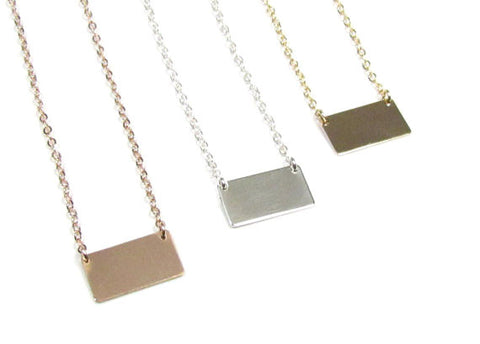 Small Blank or Engraved Nameplate Necklace