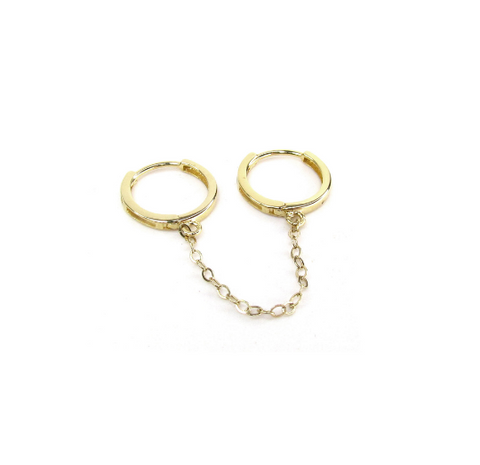 14K Double Piercing Hoops with Chain