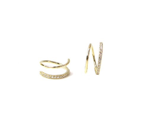 14k Diamond Spiral Earrings