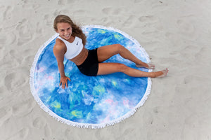 Blue Opal Round Beach Towel