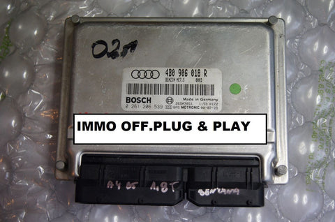 Audi A6 C5 1.8T AWT Engine Controller ECU 4B0906018R .IMMO OFF. PLUG & PLAY