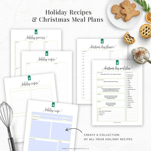 Christmas Day Meal Planner, Holiday Recipe Printables
