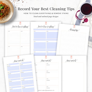 Stain Removal Cleaning List Printable