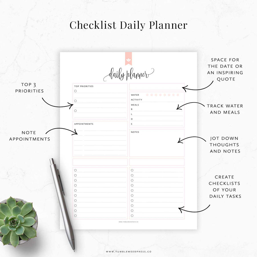 Daily Planner Checklist 01: Taylor