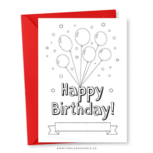 Happy Birthday Card: Colour Balloons