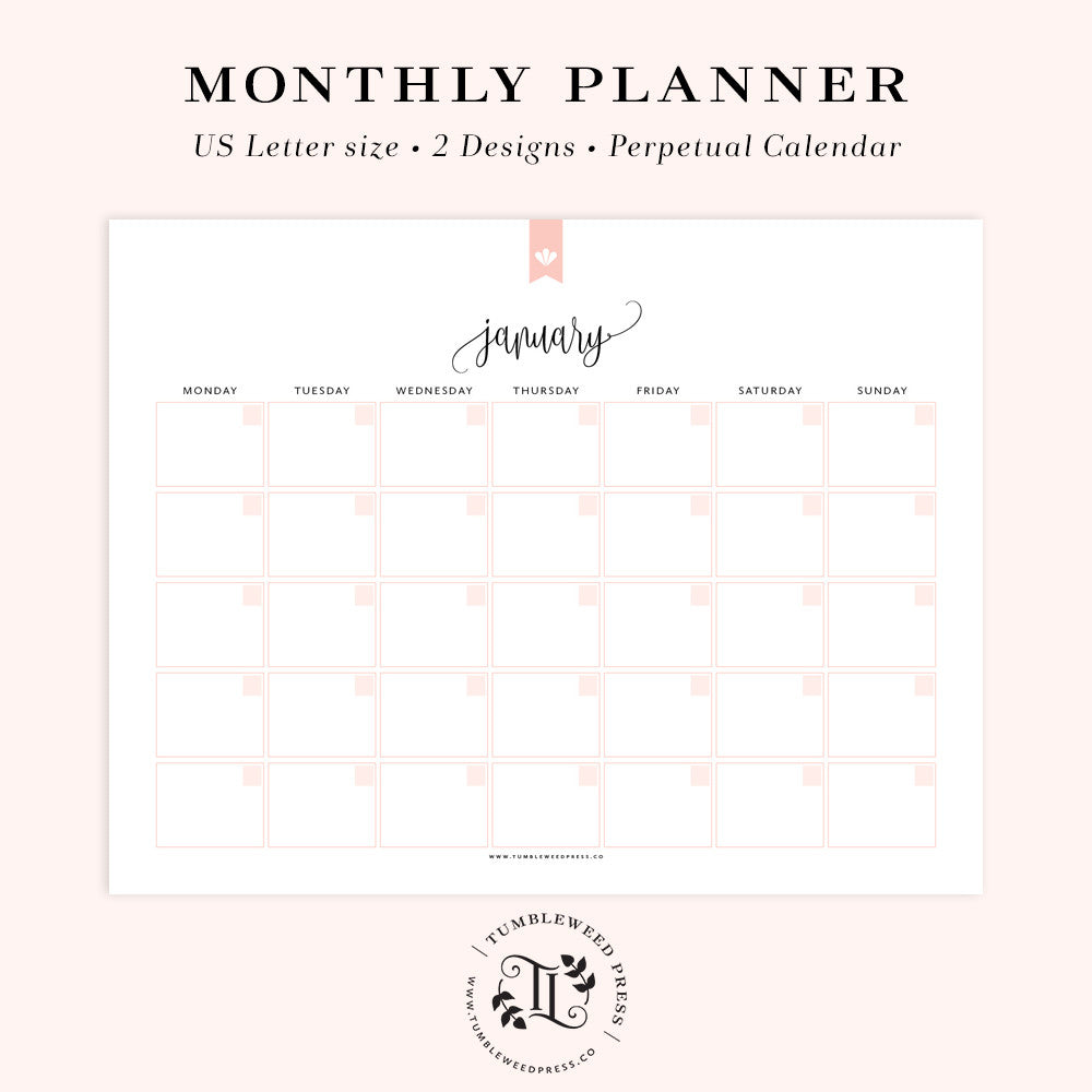 Perpetual Monthly Planner: Taylor
