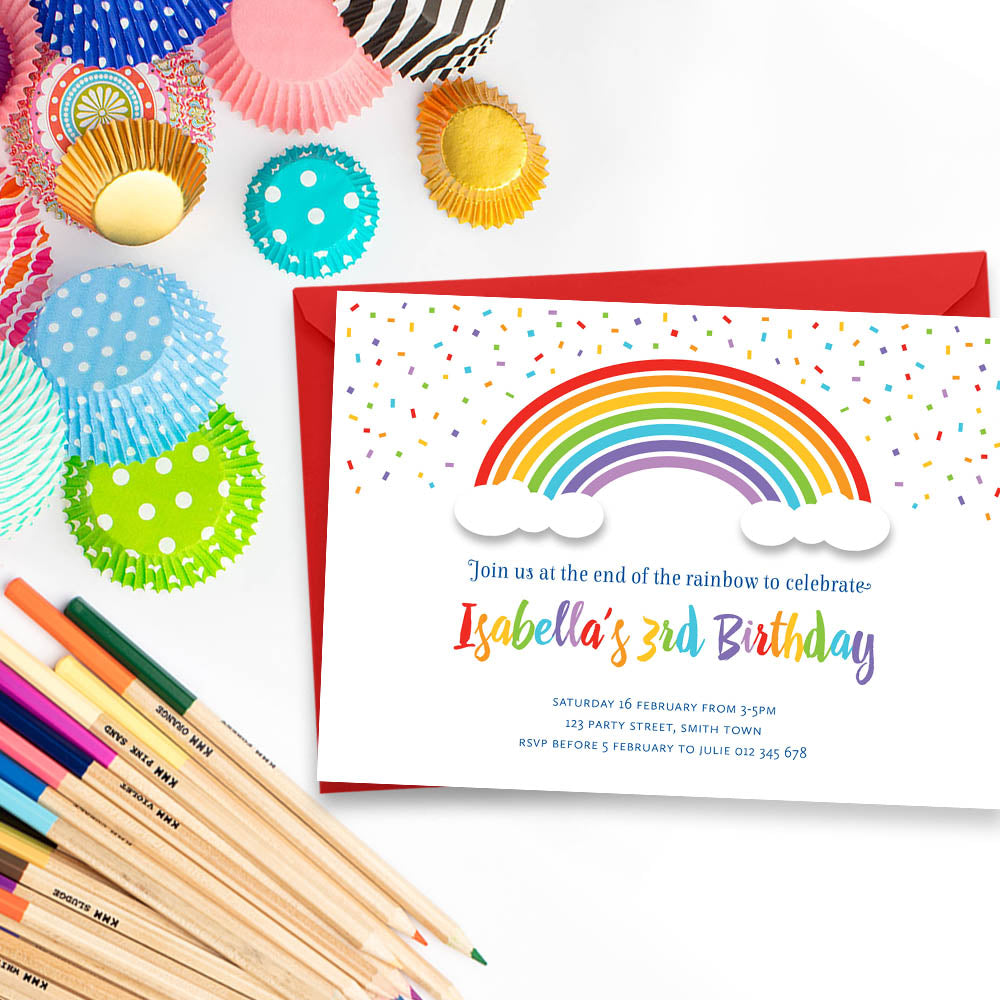 Rainbow Party Kids Birthday Printable Invitation