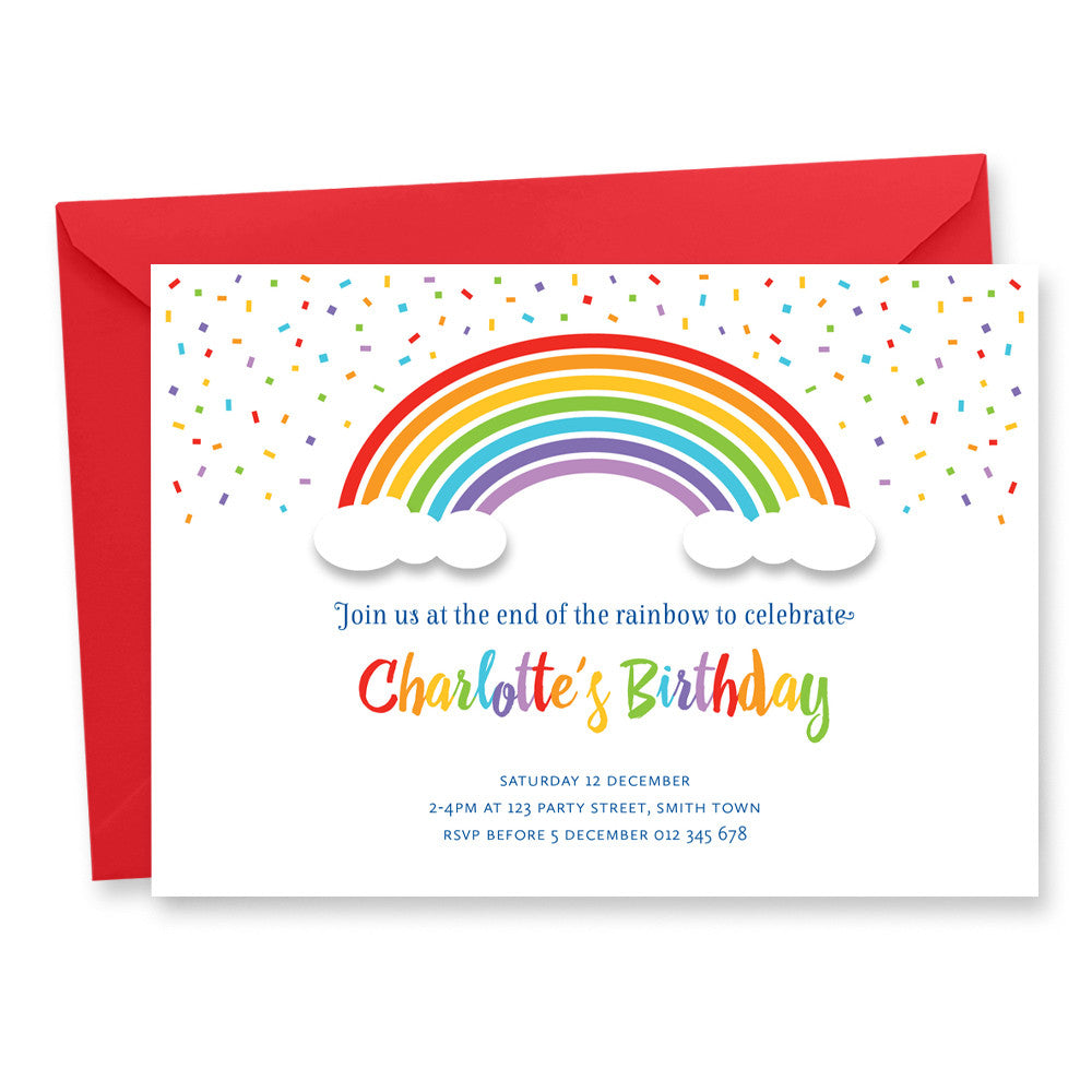 Rainbow Birthday Invitation Tumbleweed Press