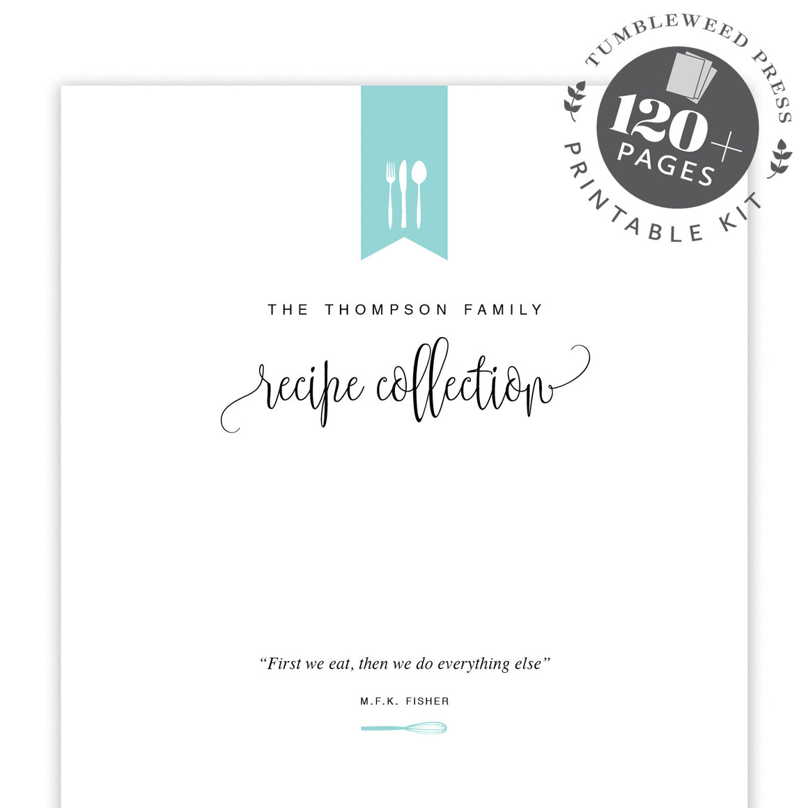 Recipe Binder Printable Kit by Tumbleweed Press