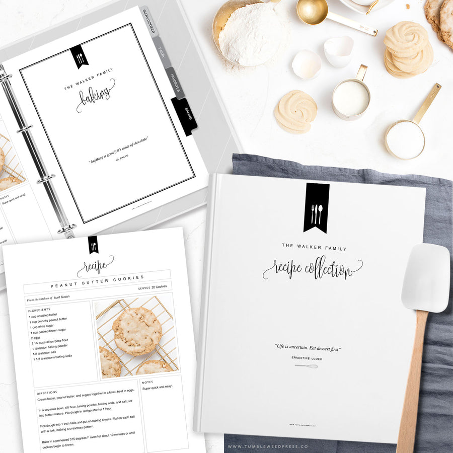 Recipe Binder Kit Printable, DIY Recipe Book by Tumbleweed Press