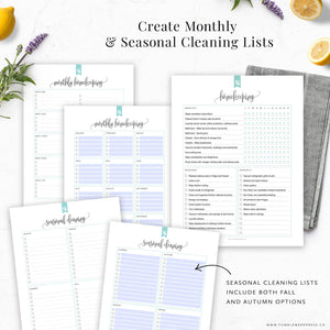 Seasonal and Monthly Cleaning Lists Printable