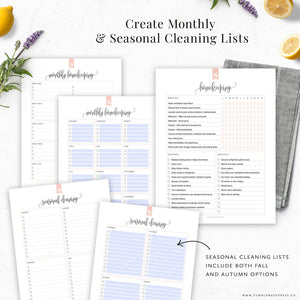 Monthly and Seasonal Cleaning Lists Printable