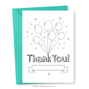 Thank You Card: Colour Balloons