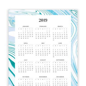 2019 Printable Year at a Glance Calendar by TumbleweedPress.Co