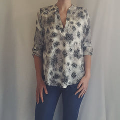 Patterned Tab Sleeve Shirt