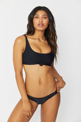 Frankies Bikinis Greer Ribbed Top Black