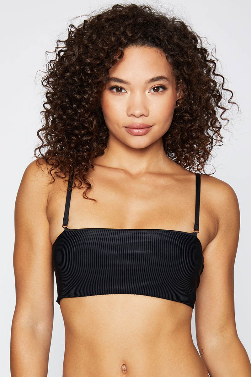 Frankies Bikinis Scarlett Ribbed Top Black