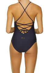 Helen Jon Lattice Back One-Piece Navy