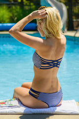 Kaileigh Swimwear Sag Harbor Top and Indian Wells Bottom Navy Stripe