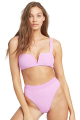 L*Space Pointelle Rib Frenchi Bikini Bottom Rosebud