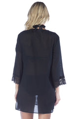 La Blanca ISLAND FARE V-NECK TUNIC Black