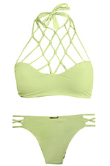 San Lorenzo High Neck Interlace Top and Bottom Lush/Opal