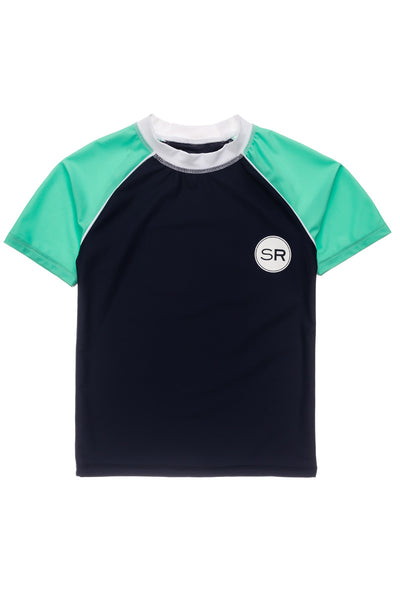 Snapper Rock Navy Mint SS Rash Top