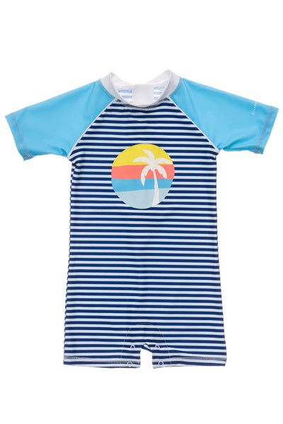 Snapper Rock Sunset Stripe Short Sleeve Sunsuit