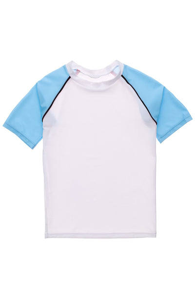 Snapper Rock White Light Blue SS Rash Top