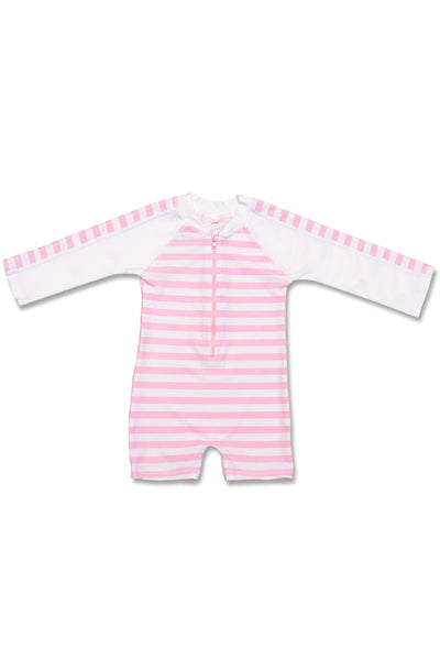 Snapper Rock Baby Long Sleeve Sunsuit Pink, White French Stripe