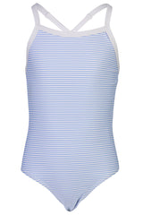 Snapper Rock Blue & White Stripe X Back Tie Swimsuit