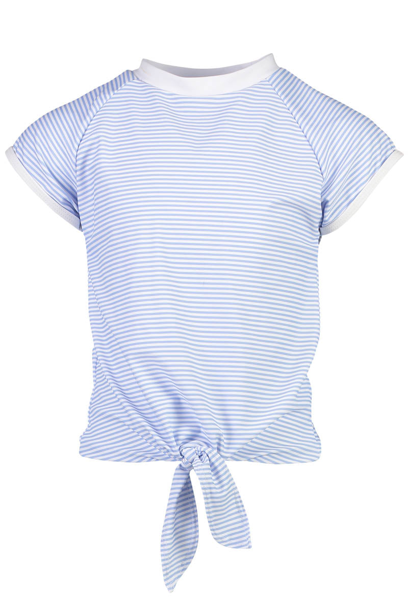 Snapper Rock Blue and White Stripe Knot Front SS Rash Top