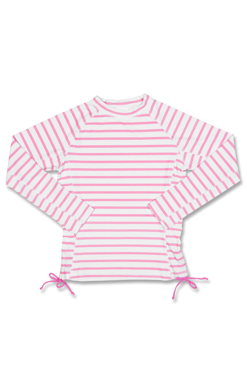 Snapper Rock Pink White Stripe Long Sleeve Rash Top