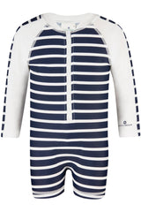 Snapper Rock Navy/White French Stripe Long Sleeve Sunsuit