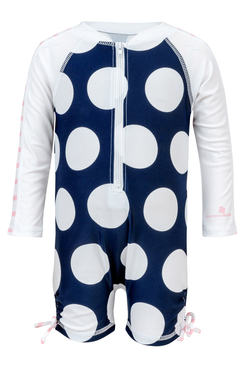 Snapper Rock Navy White Spot Long Sleeve Sunsuit