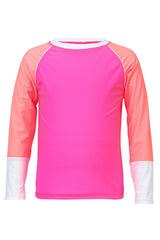 Snapper Rock Neon Pink White Cuff Long Sleeve Rash Top