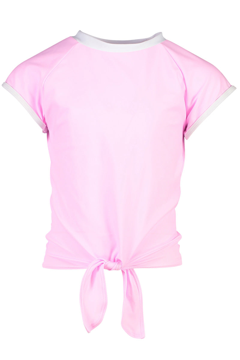 Snapper Rock Pink Front Knot SS Rash Top