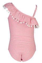 Snapper Rock Red & White Stripe One Shoulder Frill Swimsuit