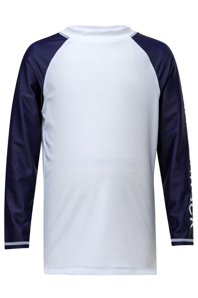 Snapper Rock White Navy Arm LS Rash Top