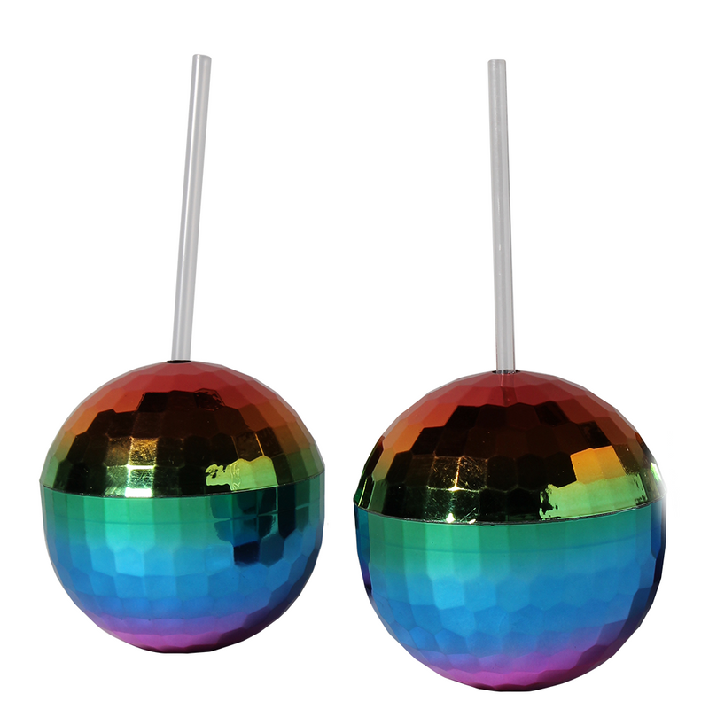 Disco Ball Sipper cups (Rainbow)