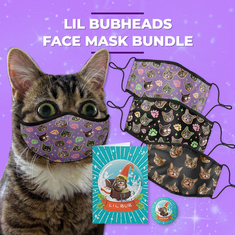 Lil BUB BUBface Face Mask Gift Bundle (set of 3 unique face masks)