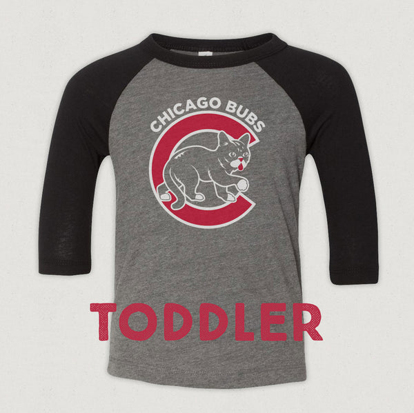 Toddler 3/4 Sleeve Baseball T-Shirt - Chicago BUBs - Heather/Black