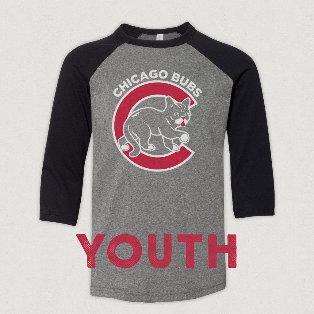 Youth 3/4 Sleeve Baseball T-Shirt - Chicago BUBs - Heather/Black
