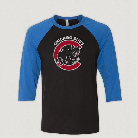 3/4 Sleeve Baseball Shirt - Chicago BUBs - Black