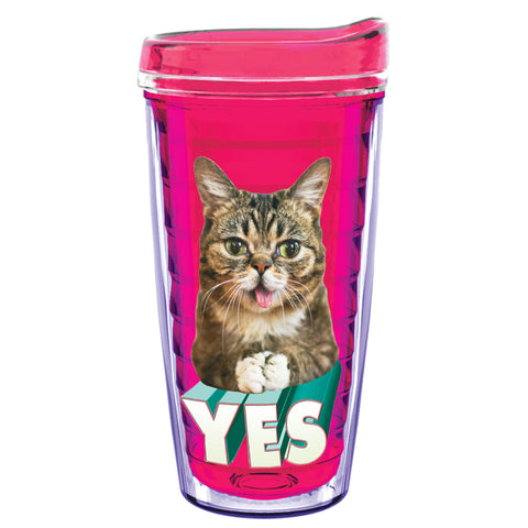 16 Oz Travel Tumbler - YES BUB - Fuchsia Pink