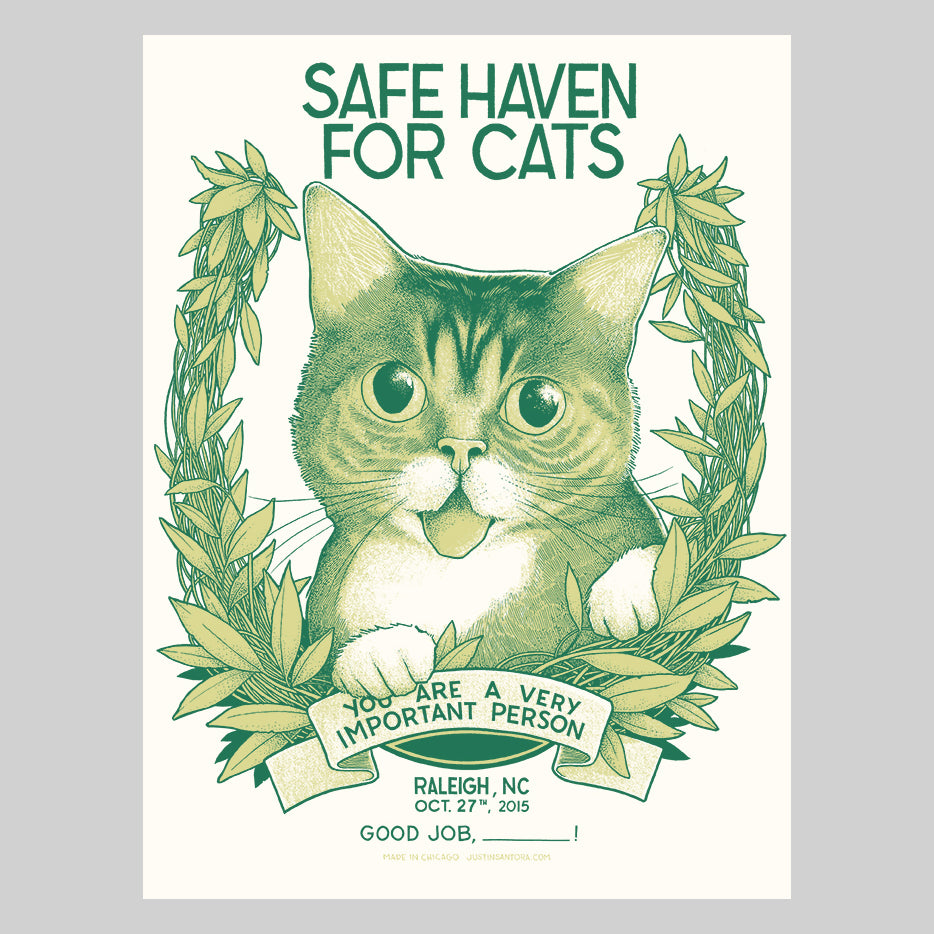 "Limited Edition Art Print (signed) - ""Safe Haven for Cats"" - Raleigh, NC, 2015"
