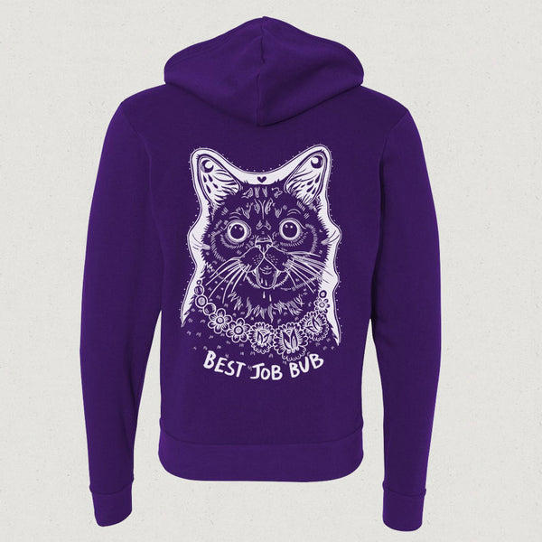 Zip Up Hoodie - BEST JOB BUB - Commemorative Woodcut BUB - Purple