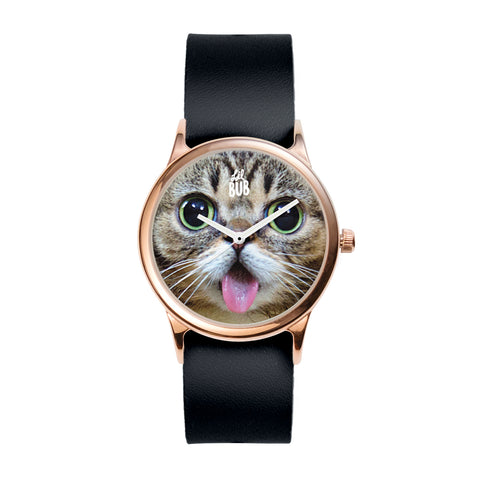 Rose Gold Watch - BUB FACE - Black Leather
