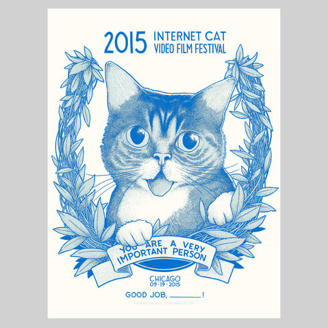 "Limited Edition Art Print (signed and stamped) - ""Internet Cat Video Film Festival 2015"" - Chicago, IL"